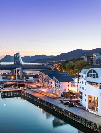 The Port of Molde at evening, Norway.